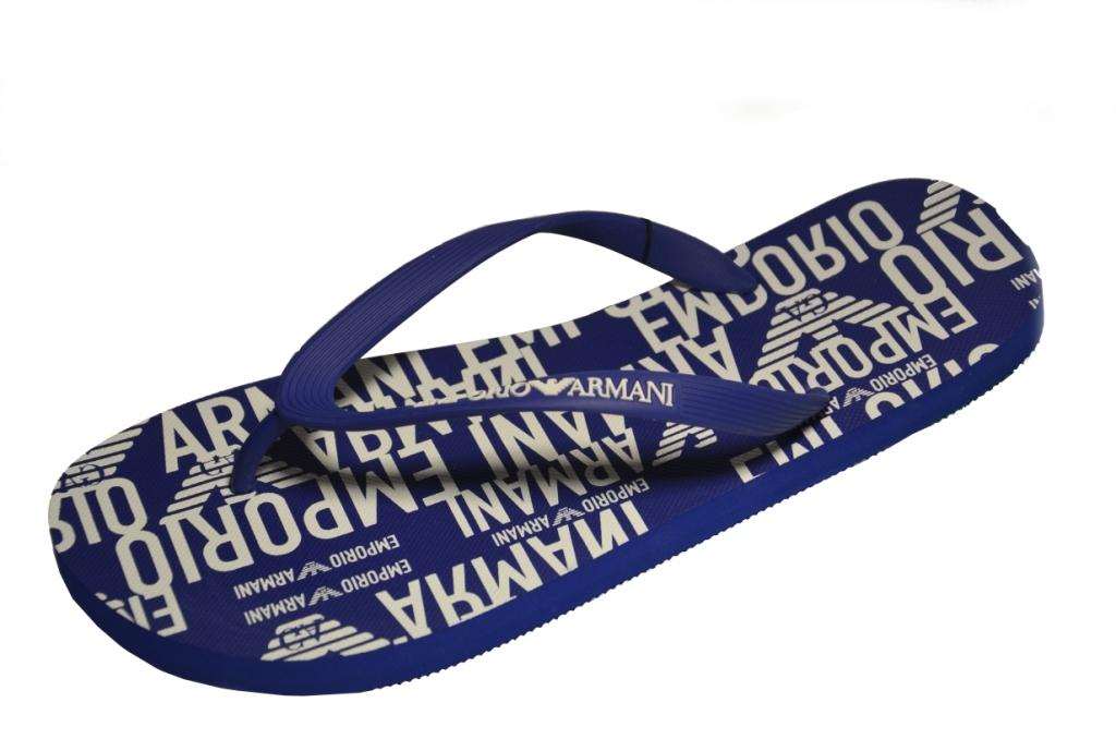 Шлепанцы мужские синие с логотипом от Emporio Armani X4QS04 XM763 N605 0