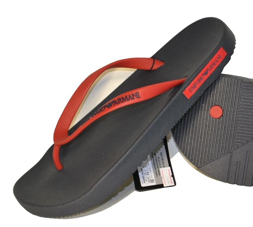 Шлепанцы мужские черно-красные Emporio Armani X4QS03 XM290 N602 0