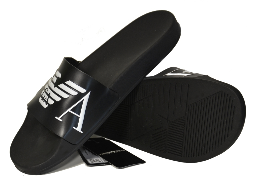 Шлепанцы мужские черные с белым логотипом Emporio Armani X4PS06 XM760 A040 0