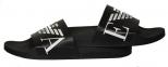 Шлепанцы мужские черные с белым логотипом Emporio Armani X4PS06 XM760 A040 1