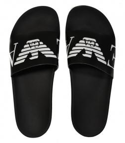Шлепанцы мужские черные с белым логотипом Emporio Armani X4PS06 XM760 A040