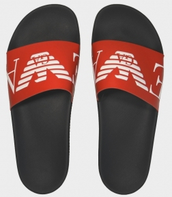 Шлепанцы мужские черные с красным Emporio Armani X4PS06 XM760 N598
